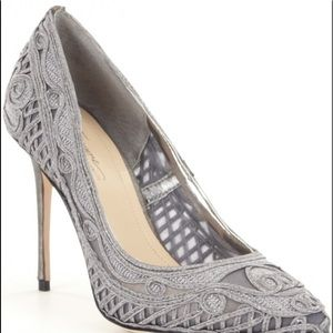 Vince Camuto Imagine pewter macrame heels